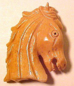 Horse Head Bone Carved Bead