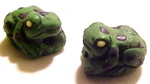 Frog 4 Small Green Clay Beads
