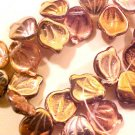 Leaves Drop 25 Copper Bronze Gold AB Glass Beads