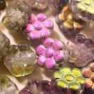 Flower 25 Gray Aurora Borealis Backed Glass Mini Beads