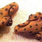 Lizard Gecko Brown 4 Small Clay Beads