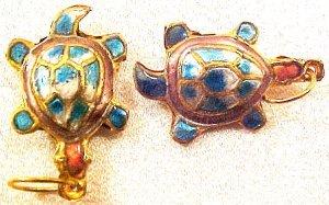 Turtle 3 Turquoise Cloisonne Metal Bead Style 3