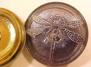 Dragonfly Silver on Silver Opaque Glass Button