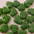 Leaves Maple 25 Green Striated Glass Beads