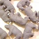 Rhinoceras 4 Large Grey Clay Beads