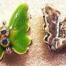 Butterfly Metal 2 Med. Green Enamel Double Hole Beads