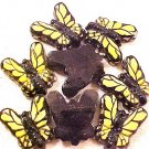 Butterfly 3 Yellow Pottery Beads