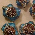 Turtle 3 Turquoise Cloisonne Metal Bead