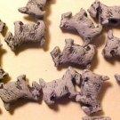 Dog Scottie Westie 5 Gray Ceramic Beads