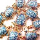 Turtle 3 Turquoise Cloisonne Metal Bead Style 2