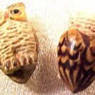 Owl 4 Brown Pottery Beads