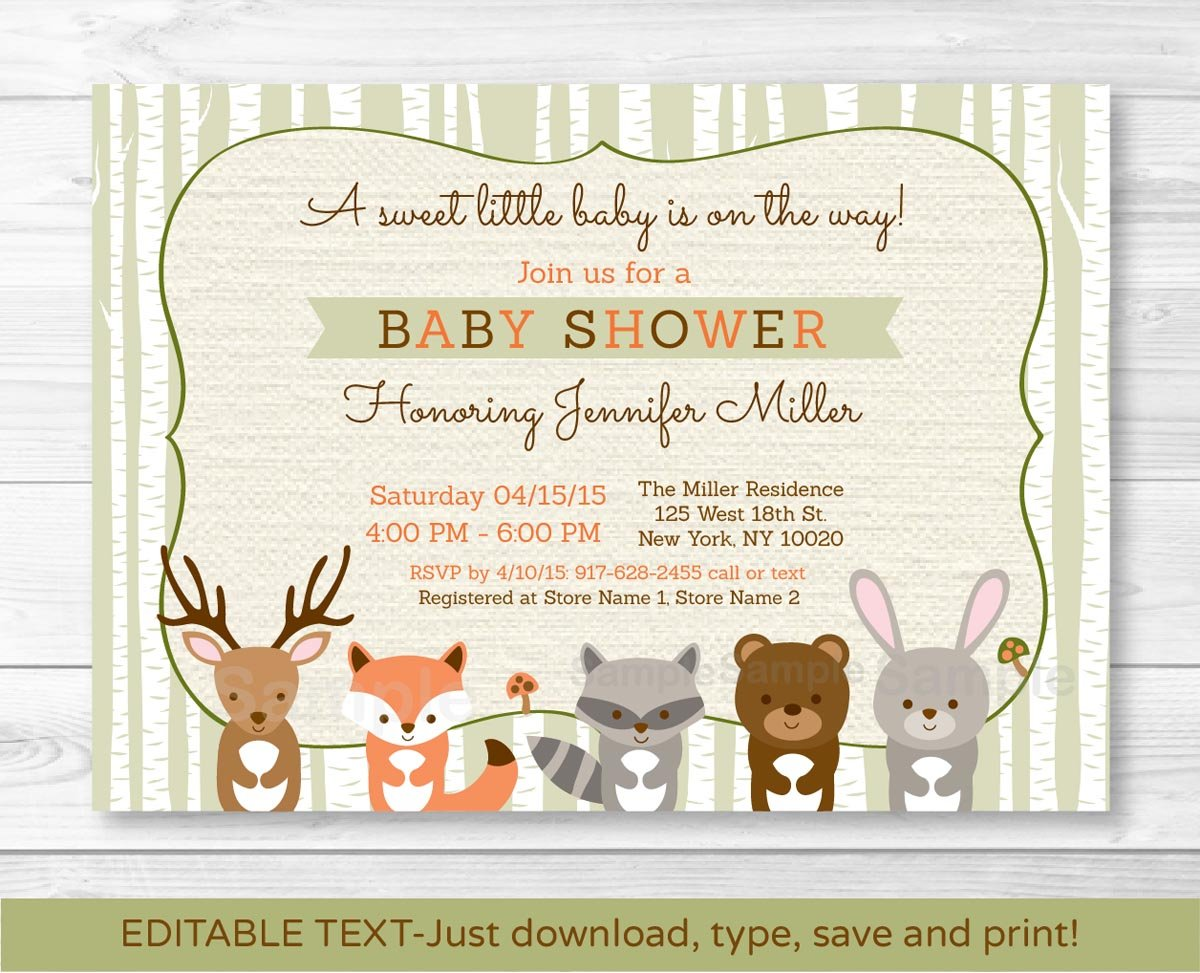 Woodland Animals Fox Deer Bear Neutral Baby Shower Invitation Editable