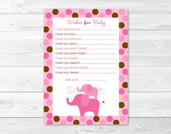 Pink Polka Dot Elephant Printable Baby Shower Wishes For Baby Advice Cards #A102