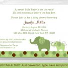 Green Polka Dot Elephant Printable Baby Shower Invitation Editable PDF #A107