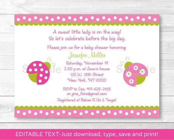 Pink Green Lil Ladybug Printable Baby Shower Invitation Editable PDF #A108