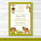 Baby Safari Lion Monkey Elephant Printable Baby Shower Invitation Editable PDF #A109
