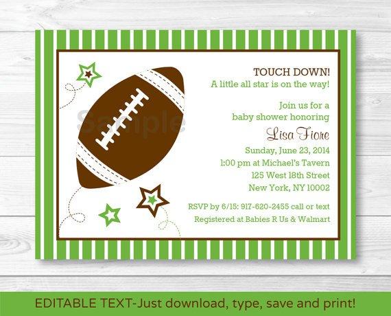 Football All Star Printable Baby Shower Invitation Editable PDF #A110