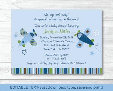 Lil Aviator Airplane Printable Baby Shower Invitation Editable PDF #A112
