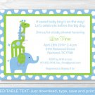 Mod Elephant Giraffe Jungle Printable Baby Shower Invitation Editable PDF #A113