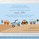 Bumper To Bumper Cars & Trucks Printable Baby Shower Invitation Editable PDF #A114