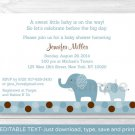 Blue Polka Dot Elephant Jungle Printable Baby Shower Invitation Editable PDF #A115