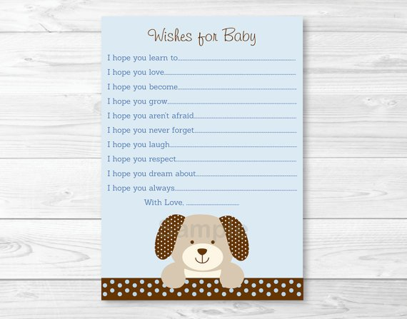 Polka Dot Puppy Dog Printable Baby Shower Wishes For Baby Advice Cards #A116