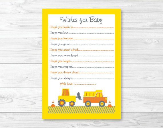 Construction Trucks Printable Baby Shower Wishes For Baby Advice Cards #A117