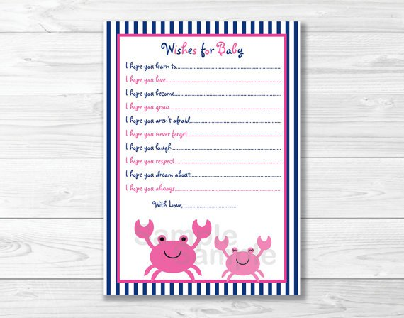 Pink Crab Under The Sea Printable Baby Shower Wishes For Baby Advice Cards #A121