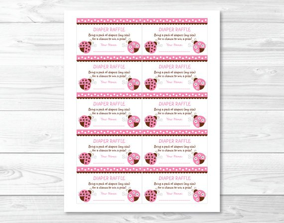Pink Ladybug Garden Printable Baby Shower Diaper Raffle Tickets #A122