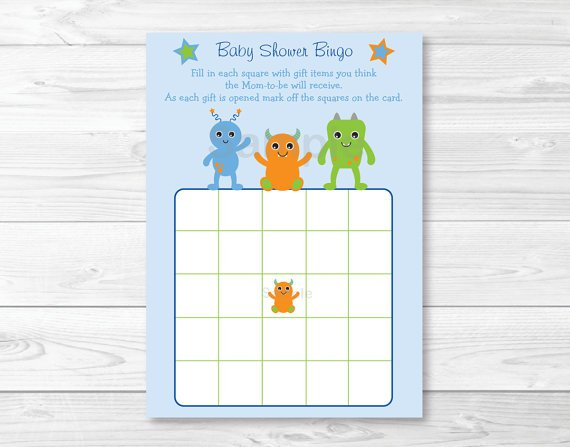 Baby Monsters Printable Baby Shower Bingo Cards #A124