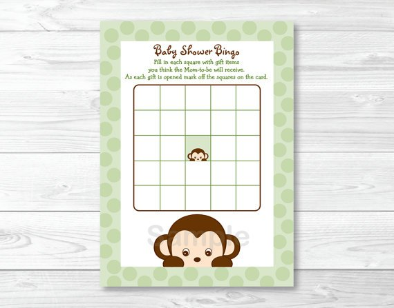 Mod Monkey Green Printable Baby Shower Bingo Cards #A125