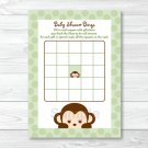 Mod Monkey Green Printable Baby Shower Bingo Cards #A125