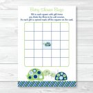 Mod Green Turtle Mom And Baby Printable Baby Shower Bingo Cards #A126