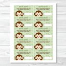 Mod Monkey Jungle Safari Printable Baby Shower Diaper Raffle Tickets #A125