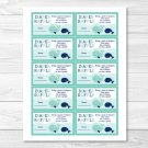 Little Blue Whale Nautical Printable Baby Shower Diaper Raffle Tickets #A129