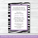Sassy Zebra Printable Baby Shower Invitation Editable PDF #A130