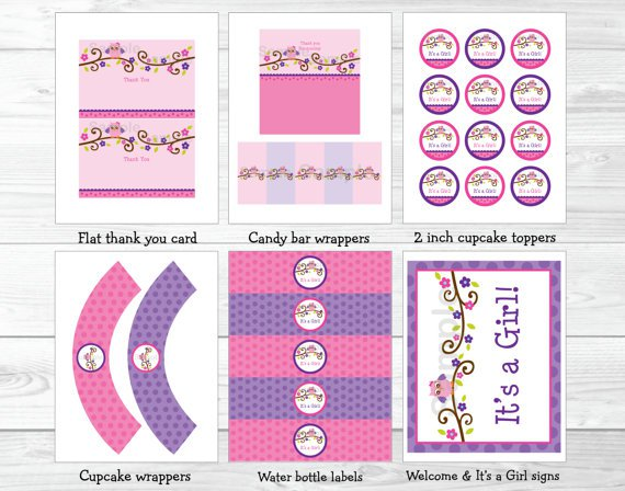 Girl Owl Blossom Printable Baby Shower Party Package #A133