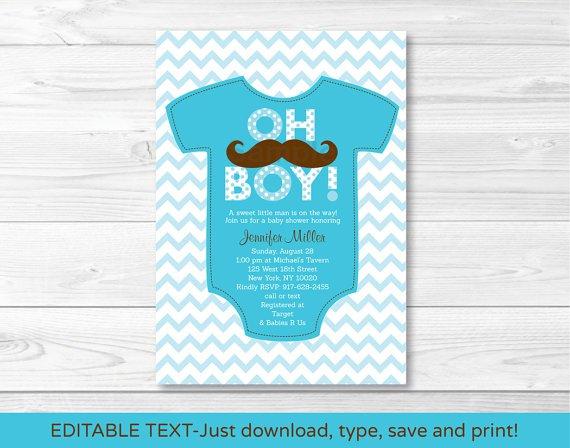 Little Man Mustache Chevron Printable Baby Shower Invitation Editable PDF #A138