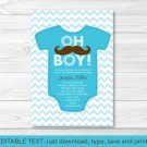 Little Man Mustache Chevron Printable Baby Shower Invitation Editable PDF #A138
