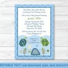 Sea Turtle Reef Printable Baby Shower Invitation Editable PDF #A144