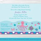 Pink Under The Sea Octopus Turtle Nautical Baby Shower Invitation Editable PDF #A145