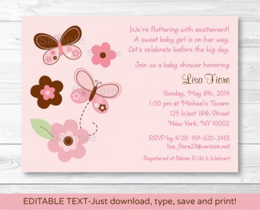 Pink Butterfly Flowers Printable Baby Shower Invitation Editable PDF #A147