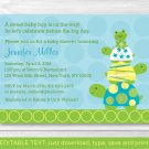 Stacked Turtle Frog Printable Baby Shower Invitation Editable PDF #A148