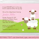Sweet Little Lamb Pink Girls Printable Baby Shower Invitation Editable PDF #A149