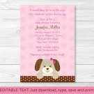 Pink Puppy Dog Polka Dot Girls Printable Baby Shower Invitation Editable PDF #A152