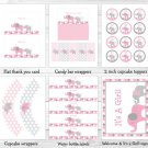 Pink And Gray Polka Dot Elephant Printable Baby Shower Package #A160