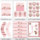 Pink Butterfly Flowers Printable Baby Shower Party Package #A147