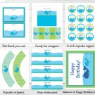 Lil Blue Whale Nautical Printable Birthday Party Package #A163