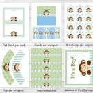 Baby Boy Monkey Blue Jungle Safari Printable Baby Shower Party Package #A164