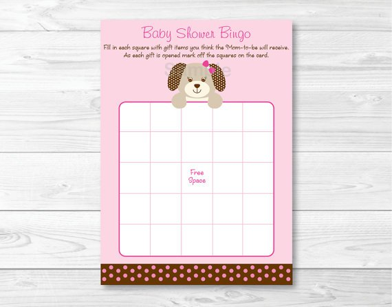 Pink Polka Dot Puppy Dog Printable Baby Shower Bingo Cards #A152